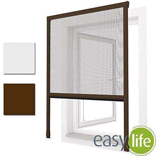 Easy Life Rolgordijn voor ramen of deuren, in wit of bruin, vliegengaas, aluminium + glasvezel, in te korten 100 x 160 cm bruin