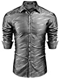COOFANDY Men's Luxury Dress Shirt Long Sleeve Slim Fit Satin Like Shirt Wedding Party Button Down Shirts Grey