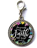 For We Walk by Faith Not by Sight - 2 Corintios 5:7 - Pulsera con colgante con cremallera y cierre de langosta