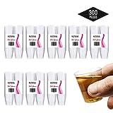 300Pcs Vasos de Chupito Desechables de Plástico Duro (30 ml) - Claro como el Vidrio - Reu...