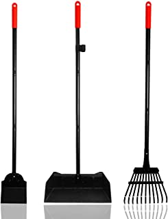 EXPAWLORER Dogs Poop Scooper 37.4 Inches Pet Poop Tray, Rake and Spade Set with Detachable Long Handle Stainless Steel for Medium to Large Pets