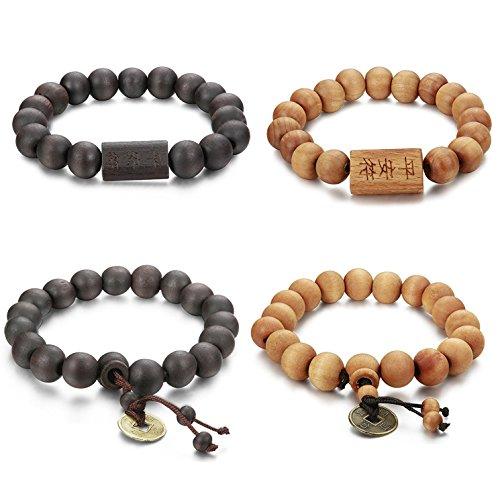 Adramata 2-6 Pcs 11mm Wood Fellas Armband für Herren Buddhistisches Zen Armband Set