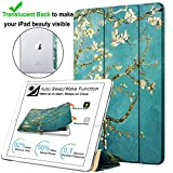 DuraSafe Cases For Apple iPad 2nd Gen / 3rd Gen / 4th Gen - 9.7 Inch Slimline Series Lightweight Protective Cover with Dual Angle Stand & Clear PC Back Shell - Blossom
