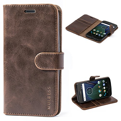 Mulbess Cover per Motorola Moto G5 Plus, Custodia Pelle con Magnetica per Motorola Moto G5 Plus Case, caffè Marrone