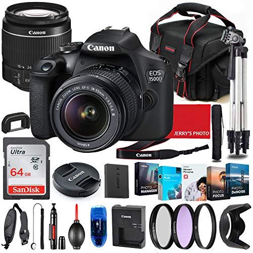 entry level slrs Canon EOS 1500D (Rebel T7) DSLR Camera with 18-55mm Lens Bundle + Premium Accessory Bundle Including 64GB Memory, Filters, Photo/Video Software Package, Shoulder Bag & More