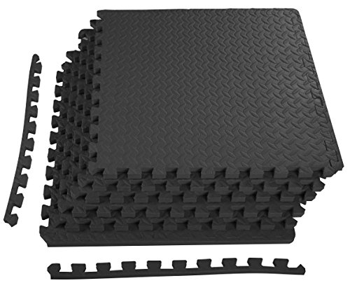 BalanceFrom Puzzle Exercise Mat with EVA Foam Interlocking Tiles,3/4' Thick, 24 Square Feet, Black