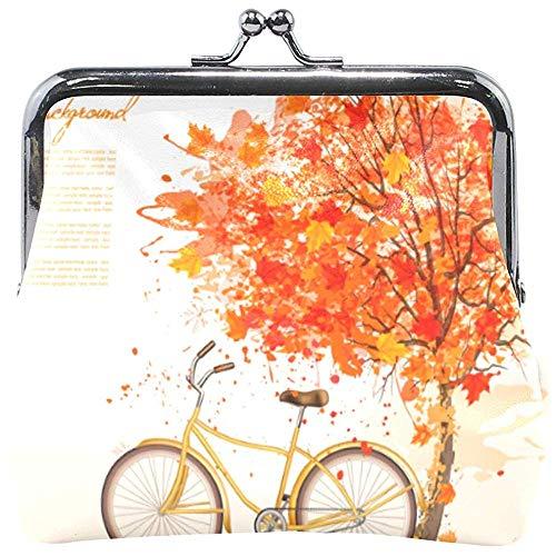 Árbol de otoño otoño Hojas caídas con Bicicleta Amarilla Monedero Lindo Monedero...