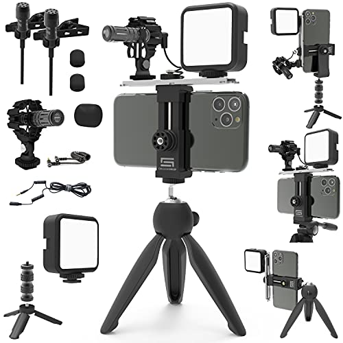 DREAMGRIP Scout MOJO Modular Rig Kit with 3 Microphones, LED Light and All-in Accessories Set for PRO Video Production with Any Smartphone for Journalists, Vloggers, Youtubers, and Movie Makers
