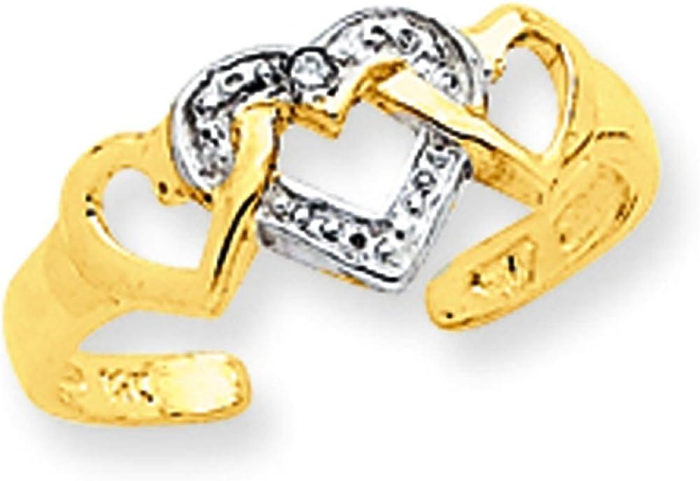 Rhodium Diamond Heart Toe Ring (10K)