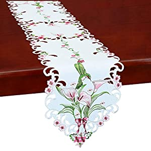 Simhomsen Embroidered Floral Table Runners for Spring and Summer, Hummingbird Flying on Calla Lily Flowers (13×88 inch)