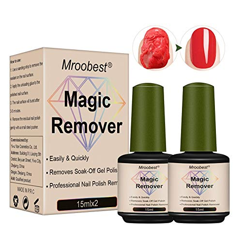 Magic Nail Polish Remover, Gel Polish Remover, Magic Remove Gel, Gel Nail Polish Remover, Magic Gel Remover, Retrait facile et rapide du vernis sur les ongles sans endommager les ongles-15ML(2pcs)