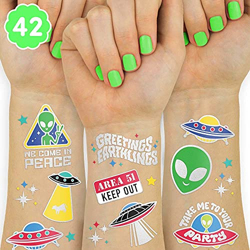 xo, Fetti Alien Temporary Tattoos - 42 Glitter Styles   UFO Space...