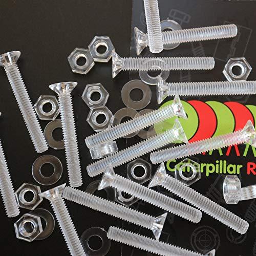 50 x tuercas y tornillos avellanados con agujero transversal, plástico acrílico transparente, M4 x 30mm - Tornillos de plástico acrílico, transparente tornillos de cabeza plana, acrílico