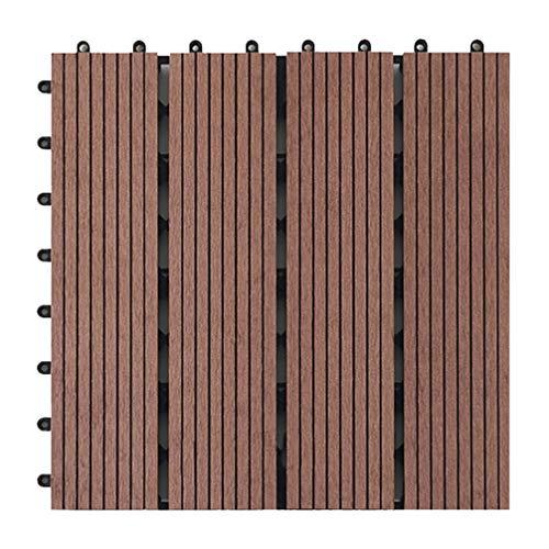 YARNOW Baldosas de Suelo Entrelazadas de Madera Pavimentadora de Patio Balcón Cubierta de Enclavamiento Azulejo para Exterior Interior Porche Patio Camino Decoración