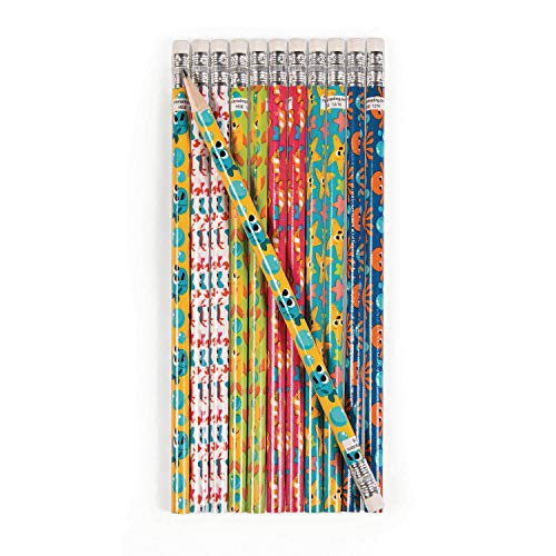 cama24com Meerestiere Bleistifte mit Radiergummi 12 Stück Mitgebsel Kindergeburtstag mit Palandi® Sticker