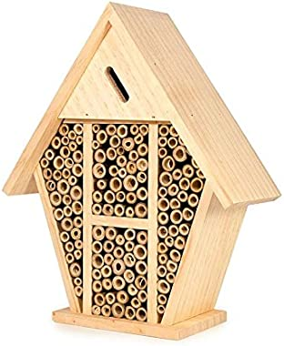 bambeco Handcrafted FSC Certified Wood and Bamboo Outdoor Treated Swiss Alps Hanging Bee House Insect Habitat