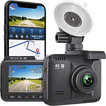 Rove R2-4K Dash Cam Built in WiFi GPS Car Dashboard Camera Recorder with UHD 2160P 2.4  LCD 150° Wide Angle WDR Night Vision