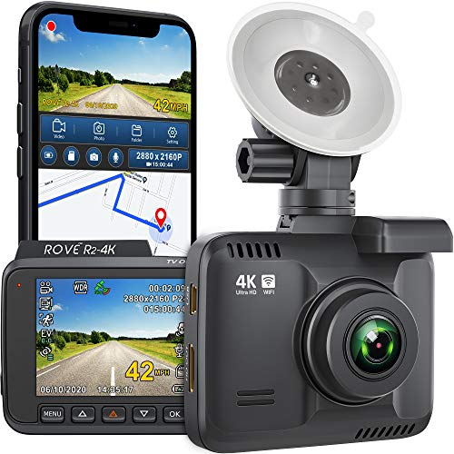 Rove R2- 4K Dash Cam Built in WiFi GPS Car Dashboard Camera Recorder with UHD 2160P, 2.4' LCD, 150° Wide Angle, WDR, Night Vision