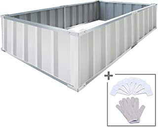 KING BIRD 68''X35.5''X11.8'' Galvanized Raised Garden Bed Box Kit Ivory Good for DIY with A Gloves & 8pics T-Type Tags
