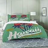 DIIRCYB Bettbezug-Bettwäsche,Hawaii Surfing Water Sport Palm Tree Orange Sun,Mikrofaser-1 Bettdecke-Bettlaken 140×200CM und 2 Kissenbezüge 50×80CM