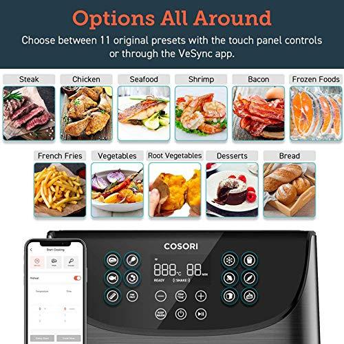 COSORI 5.5L Friggitrice ad Aria WiFi,Friggitrice Senza Olio,Air Fryer con 11 Programmi,Funzione Keep Warm,LED Touch Screen,Tempo Temperatura Regolabili,Senza BPA&PFOA,100 Ricette Cartacee 1700W