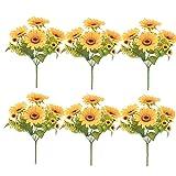 Sanfiyya Artificial de Girasol Ramo de simulación Flores de Seda 13heads Falso Colgando Verdor Plantas de la decoración para el Aniversario de Boda 6pcs