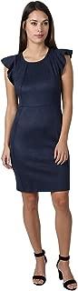 bebe Women's Flutter Sleeve Suede Slim Sheath Dress with Exposed Back Zipper