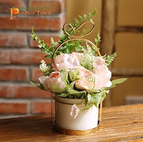 2019 NEW Exquisite zoete serie pioen keramiek bloem set, huiseettafel/kaptafel/Washroom keramiek bloem set decoration: lichtroze