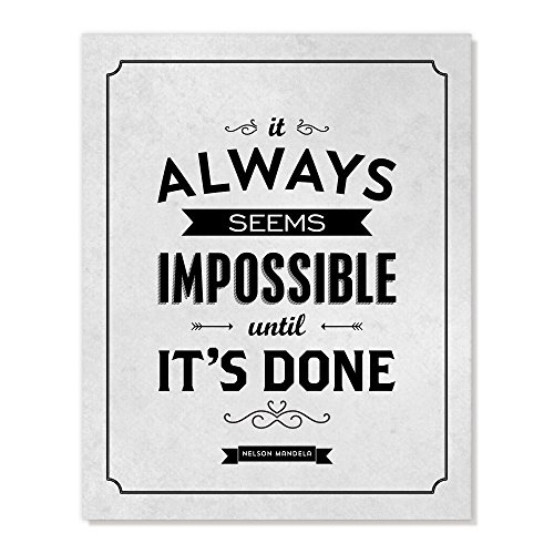 Nelson Mandela Quote, It Always Seems Impossible, Inspirational Art Print, 5x7 inches
