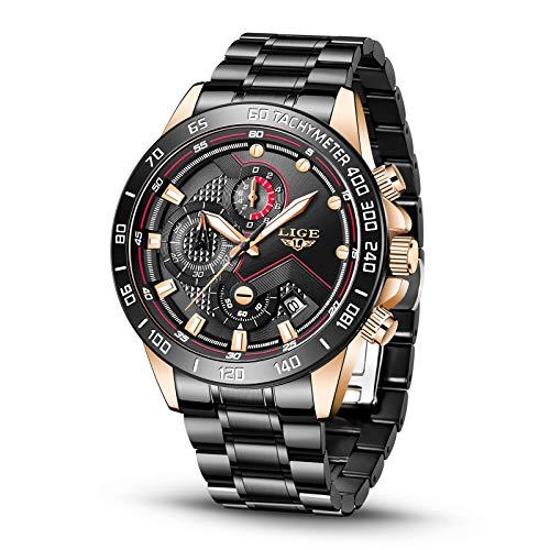 LIGE Relojes para Hombre Negro Cuarzo Reloj Deportivo Cronógrafo Fecha Reloj de Pulsera Impermeable