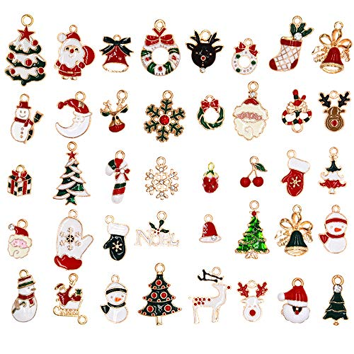 40Pcs Navidad Colgantes Christmas Pendant Navideños Encantos Pendientes Navidad Adornos para Bricolaje pulsera joyería de Navidad Pulsera Collar Artesanales Manualidades Regalo Decorativos Fiesta