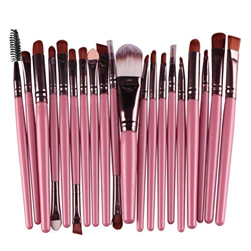 Frcolor 20pcs Brochas para Maquillaje Profesional Cepillo de Polvo Base Sombra de Ojos Cejas Herramientas Cosméticas (Rosa)