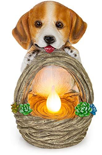 Puppy Dog with Basket Solar Powered LED Outdoor Decor Garden Light