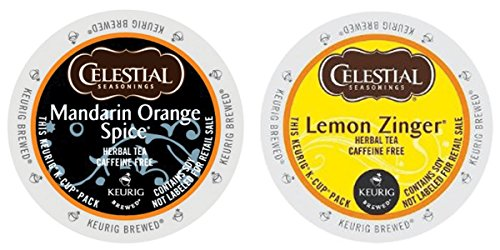 Celestial Seasonings - Mandarin Orange Spice & Lemon Zinger K-cup Combo Pack for Keurig 2.0 - 48 Count/24 Per Box