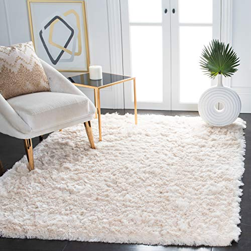 Safavieh Paris Shag Collection SG511 Handmade Silken Glam 2.5-inch Thick Accent Rug, 2′ x 3′, Ivory
