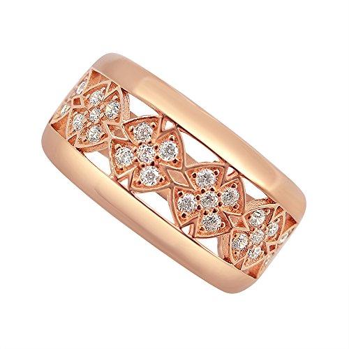 Velini Damen Rose 925 Sterling Silber Ring Mikro Pave Fassung Mit Zirkonia Steiner
