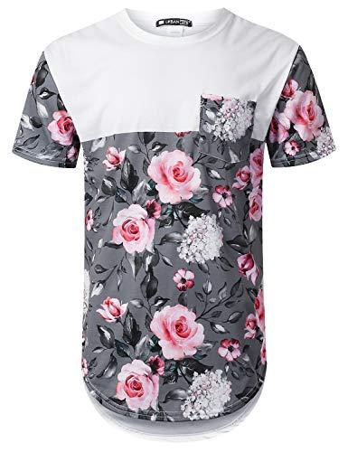 URBANTOPS Mens Hipster Hip Hop Pink Rose Panel Pocket Longline T-Shirt White, XL