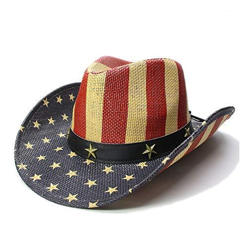 XinQuan Wang Vrouwen Mannen Straw Sun Beach Cowboy Cowboy Hoed Pentagram zonnehoed Stripe Amerikaanse vlag Roll-Up Sombrero Cap (Color : 1, Size : 56-58cm)