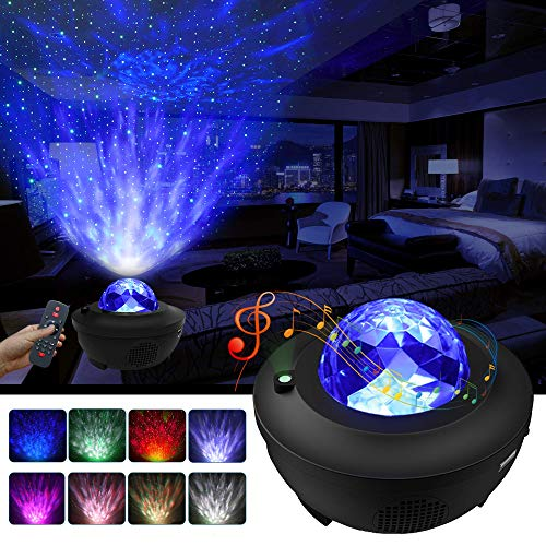 LBell Night Light Projector 3 in 1 Galaxy Projector Star Projector w/LED Nebula Cloud for Baby Kids Bedroom/Game Rooms/Home Theatre/Night Light Ambiance with Bluetooth Music Speaker