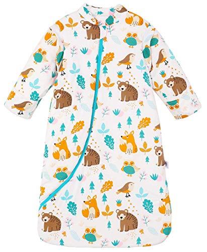 Chilsuessy Baby Schlafsack Winter, Abnehmbare Ärmel, warm gefüttert 3.5 Tog Winter Schlafsäcke Jungen Mädchen Schlafsack für Kleinkinder von 6 Monaten bis 6 Jahre, Wald Tiere, M/Baby Höhe 75-90cm
