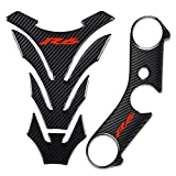 REVSOSTAR Real Carbon Look Triple Tree Front End Upper, Top Clamp Decal Stickers, Tank Pad, Tank Protector for R6, 3 Pcs Per Set