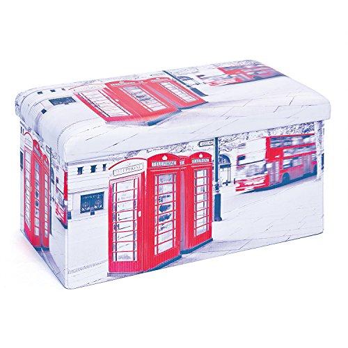 Inter Link Faltbox, Groß, Polyurethan, MDF, London Druck, 76 x 38 x 38 cm, 1 Einheiten