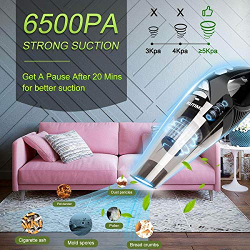 KUTIME Handheld Vacuum Cordless, Upgraded 6500PA Super Suction Power Car Vacuum with LED Light, Portable Vacuum Cleaner 2200mAh Lithium Battery, 12V Vac for Home and Car Cleaning