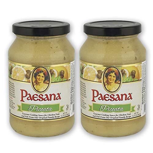 Paesana Piccata Gourmet Cooking Sauce Made with White Wine great on Chicken, Veal, Fish, Kosher Dairy. 15.75 oz. Jar - Packed in USA (2 Pack)