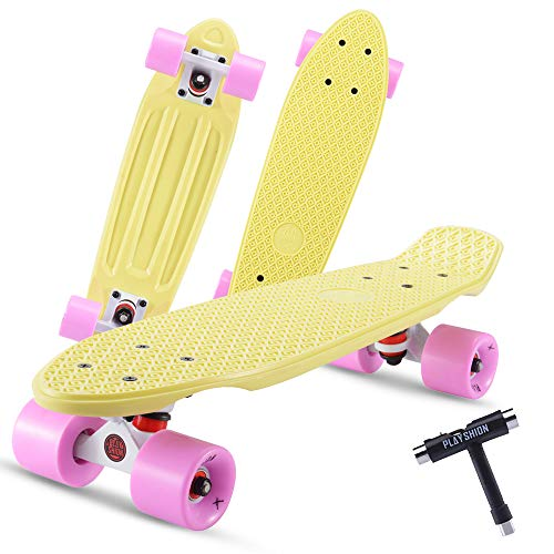 Playshion Complete 22 Inch Mini Cruiser Skateboard for Beginner with Sturdy Deck Yellow/Pink