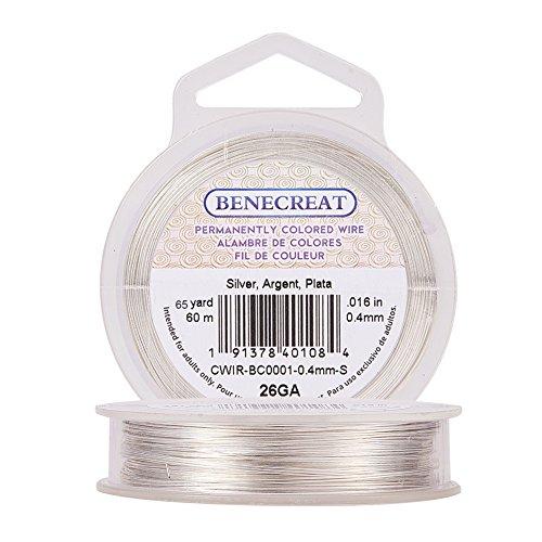 BENECREAT 26 Gauge (0,4 mm) Anlaufbeständiger Silberdraht Schmuckherstellung Kupferdraht, 60M/66 Yard