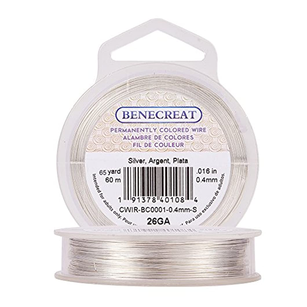 BENECREAT 26-Gauge Tarnish Resistant Silver Coil Wire, 197-Feet/66-Yard