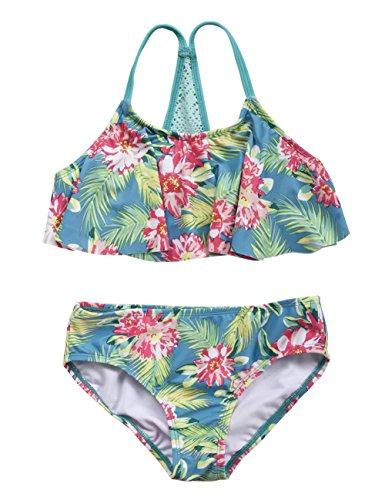 Firpearl Girl's Two Piece Swimsuit Floral Bikini Set Flounce Bathing Suit Green Leaf L