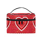 WIHVE San Valentino Cuore rosso Paisley Fiori Trucco Borsa Portatile da viaggio Borsa cosmetica Organizzatore Borsa da toilette per donna