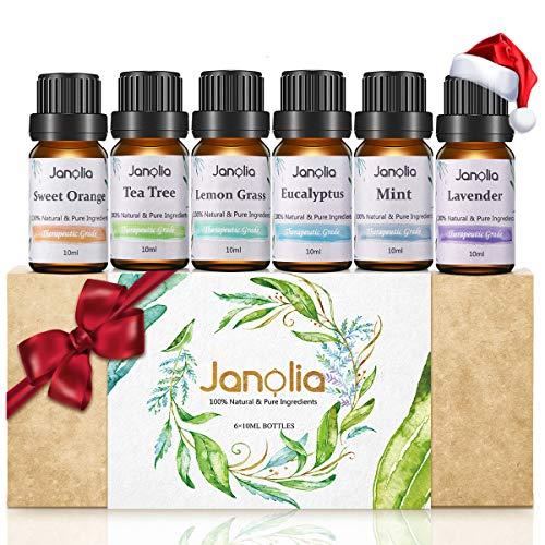 Janolia 6pcs Aceites Esenciales, Aceites Puros y Naturales de Fragancia y Aromaterapia, Set de Aceites para Difusar y Mejora el Sueño, 6 x 10 ml